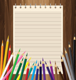 Colorful pencil with yellow paper on lath boards vector image vector image