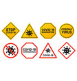 covid19-19 signs ban and stop virus yellow banner vector image