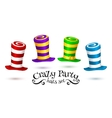 Crazy Party colorful striped carnival hats vector image vector image
