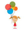 cute happy little girl standing with air balloons vector image