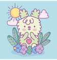 cute rabbit flowers leaves clouds sun decoration vector image vector image