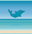 dolphin sea animal beautiful landscape vector image vector image
