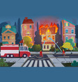 firefighters with engine fire truck extinguish vector image vector image