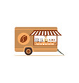 flat street food cart with coffee vector image
