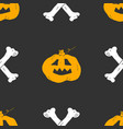 halloween seamless pattern hand drawn sketched vector image vector image