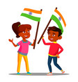 happy indian kids waving flags of india on vector image