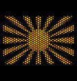 hexagon halftone japanese rising sun icon vector image