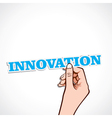 innovation word in hand vector image vector image