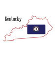 kentucky state map and flag vector image vector image