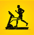 man running on treadmill graphic vector image vector image