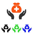 medical fund care hands flat icon vector image vector image