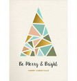 Merry christmas tree triangle gold vintage card vector image vector image