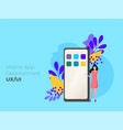 mobile application development concept with vector image vector image