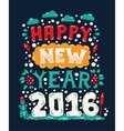 Modern flat design hipster New Year 2016 postcard vector image