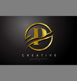 p golden letter logo design with circle swoosh vector image vector image