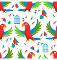seamless pattern parrot bird cell vector image