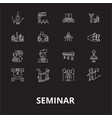 seminar editable line icons set on black vector image vector image