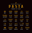Set of icons varieties of pasta