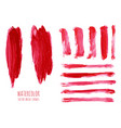 set of magenta red watercolor stripes vector image vector image