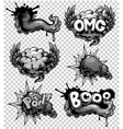 set of monochrome comics icons vector image