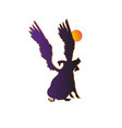 silhouette funny piggy with wings howling at the vector image vector image