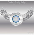 silver badge and emblems product quality vector image vector image