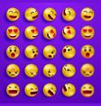 smile faces happy emoticons yellow 3d emoji set vector image vector image