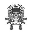 soldier skull with assault rifles design element vector image