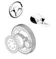 steering wheel gearbox and gear mechanism vector image vector image