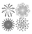 sunburst decorative set icons vector image