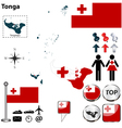 Tonga map small vector image vector image