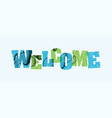 welcome concept stamped word art vector image vector image