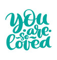you are so loved text handwritten lettering vector image