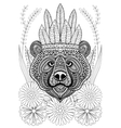 Zentangle stylized bear with war bonnet on flowers vector image