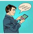 Man Holding Tablet Businessman at Work Pop Art vector image
