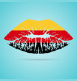 germany flag lipstick on the lips isolated on a vector image