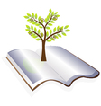 Open book with tree logo vector image