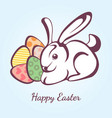 card for easter with rabbit and eggs vector image
