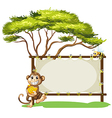 A monkey with a banana near the empty signage vector image vector image
