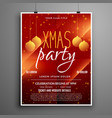 abstract red christmas party event flyer design vector image vector image