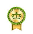 award ribbon gold icon golden green medal crown vector image