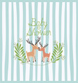 baby shower card with cute reindeer couple vector image vector image