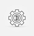 bitcoin in gear line icon vector image vector image