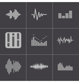 black music soundwave icons set vector image