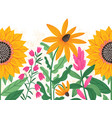 bright summer flowers seamless decorative vector image