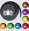 Business center icon sign Symbols on eight colored vector image vector image