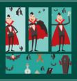 cartoon dracula cards symbols vampire icons vector image vector image
