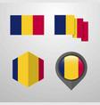 chad flag design set vector image vector image