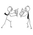 conceptual cartoon of two businessmen arguing or vector image