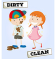 Dirty boy and clean girl vector image